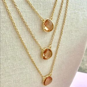 Beautiful layer necklace with pink crystal stones